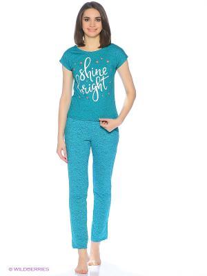 Комплект домашней одежды ( футболка, брюки) HomeLike. Цвет: бирюзовый