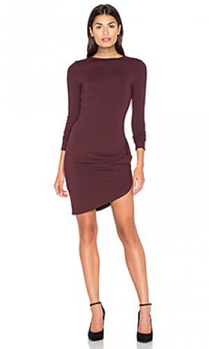 Обрезанное платье с асимметричным подолом twenty. Цвет: вишня