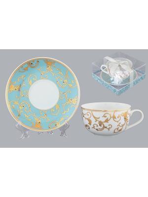 Чайная пара Королевкий узор Elan Gallery. Цвет: белый, голубой, золотистый