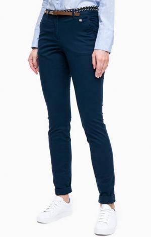 Синие брюки чиносы из хлопка TOM TAILOR. Цвет: синий