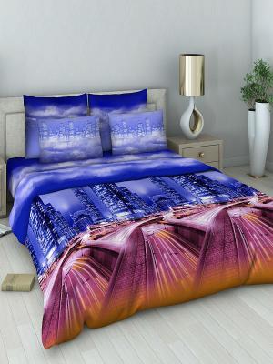 Комплект постельного белья из поплина Евро Василиса. Цвет: синий, бордовый