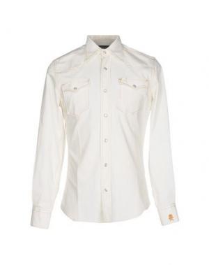 Джинсовая рубашка HYDROGEN. Цвет: слоновая кость