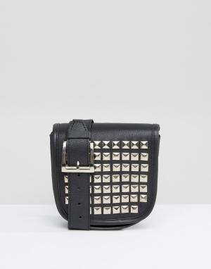 Park Lane Кожаная сумка-кошелек на пояс с заклепками. Цвет: черный