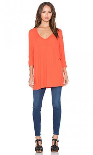 Драпированная футболка с v-образным вырезом dylan Michael Lauren. Цвет: оранжевый