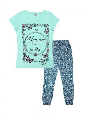 Комплект женский (футболка, брюки) Family Colors. Цвет: бирюзовый