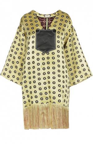 Платье-миди с широкими рукавами и бахромой Edun. Цвет: желтый