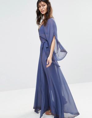 The Jetset Diaries Шифоновое платье макси с рукавами-кимоно Las Perlas. Цвет: синий