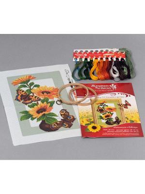 Набор для вышивания Подсолнухи и бабочки Матренин Посад. Цвет: желтый