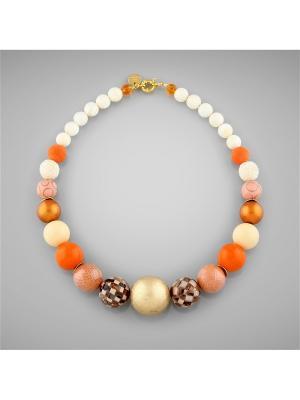 Бусы Сафари Anna Slavutina. Цвет: оранжевый, золотистый, коричневый