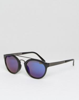 AJ Morgan Круглые солнцезащитные очки с зеркальными стеклами. Цвет: черный