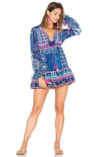 Мини платье с оборкой HEMANT AND NANDITA. Цвет: синий