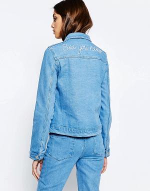 See You Never Denim Джинсовая куртка с вышивкой сзади. Цвет: синий