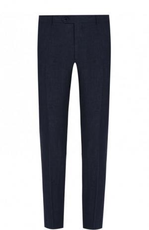 Льняные брюки прямого кроя Berwich. Цвет: темно-синий