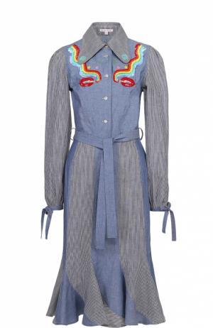 Платье-рубашка с поясом и контрастной отделкой Olympia Le-Tan. Цвет: голубой