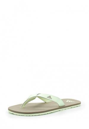 Сланцы adidas. Цвет: зеленый