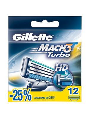 Cменные кассеты для бритья MACH3 Turbo, 12 шт. GILLETTE. Цвет: синий