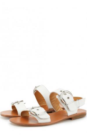 Кожаные сандалии с ремешками Gallucci. Цвет: белый