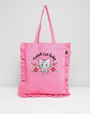 Lazy Oaf Сумка-тоут с 3D-вышивкой кошки и оборкой. Цвет: розовый