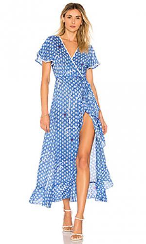Платье с запахом joe Poupette St Barth. Цвет: синий