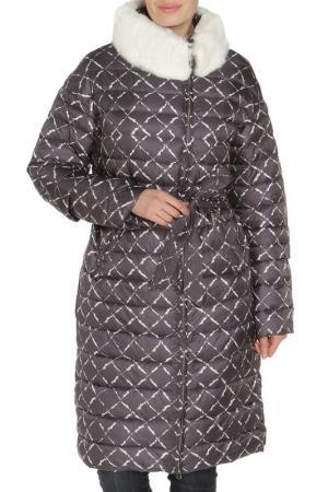 Полуприлегающая куртка с поясом Clasna. Цвет: графитовый