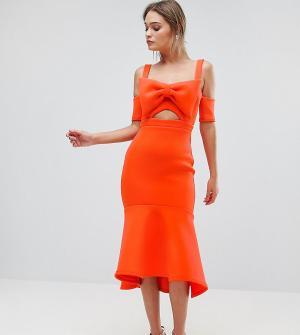 True Violet Платье миди с бантом и оборкой по нижнему краю. Цвет: оранжевый