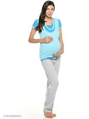 Блузка Mum`s Era. Цвет: бирюзовый, голубой