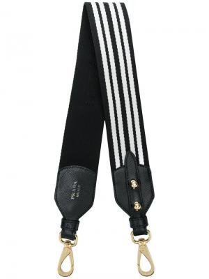 Полосатая лямка для сумки Prada. Цвет: чёрный