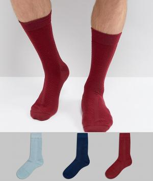 ASOS Подарочный набор из 3 пар фактурных носков разных цветов Made in. Цвет: мульти