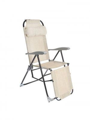 Кресло- шезлонг складное с подножкой Nika. Цвет: темно-бежевый