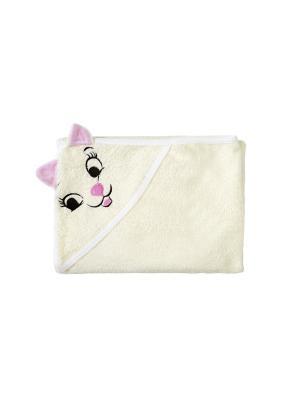 Полотенце с капюшоном FUN DRY КОШКИ, цвет Светло-бежевый  розовыми ушками Twinklbaby. Цвет: светло-бежевый