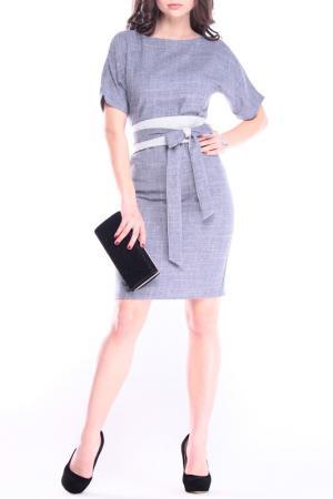 Классическое платье с поясом REBECCA TATTI. Цвет: дымчатый, белый