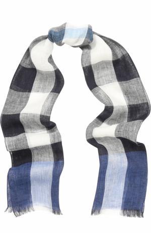 Льняной шарф с принтом Burberry. Цвет: голубой