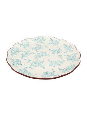 Блюдо Цветочная симфония на голубом Elan Gallery. Цвет: голубой, белый