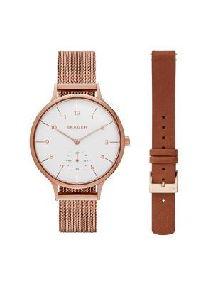 Часы SKAGEN. Цвет: коричневый, розовый, золотистый, белый