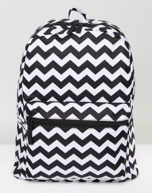 7X Рюкзак с зигзагообразным принтом. Цвет: черный