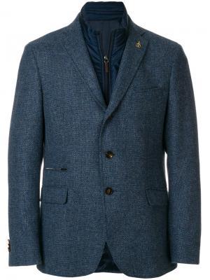 Многослойный пиджак Paoloni. Цвет: синий