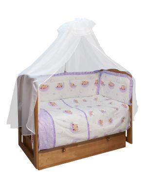Комплект постельного белья в кроватку, Мишки лунишки Soni kids. Цвет: фиолетовый, белый
