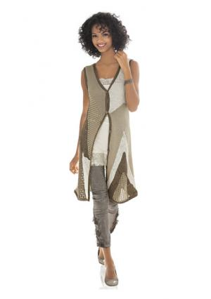 Удлиненный жилет Linea Tesini. Цвет: серо-коричневый