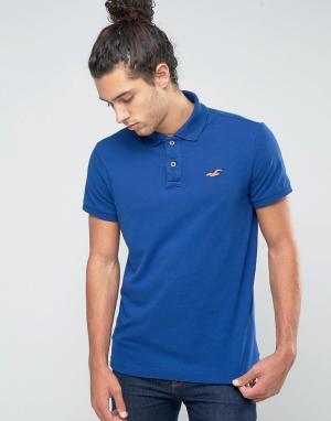 Hollister Синее стретчевое поло узкого кроя из ткани пике с логотипом. Цвет: синий