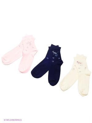 Носки детские, 3 пары БРЕСТСКИЕ. Цвет: темно-синий, бледно-розовый, светло-желтый