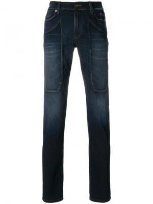 Прямые джинсы Jeckerson. Цвет: синий