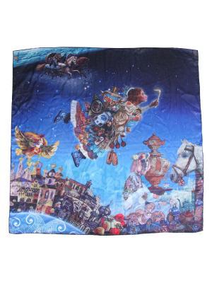 Сезонный платок с арт-принтом Зимние сны Оланж Ассорти. Цвет: синий