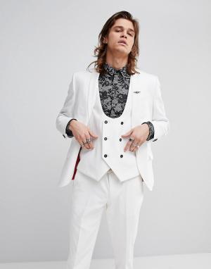 Noose & Monkey Супероблегающий пиджак. Цвет: белый