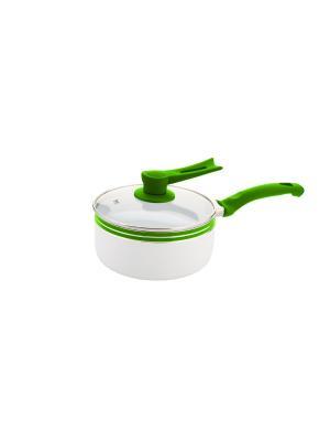 Ковш 18 см., внутр.покрытие бел.керамика Elff Ceramics. Цвет: белый, зеленый