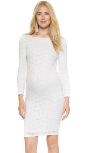 Кружевное платье с вырезом «лодочкой» Ingrid & Isabel. Цвет: белый