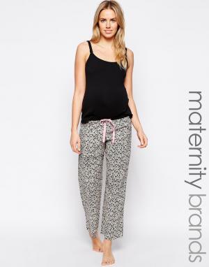 Hotmilk Винтажные пижамные брюки для беременных с цветочным принтом. Цвет: мульти