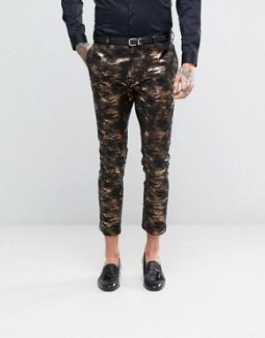 ASOS Супероблегающие брюки под смокинг с камуфляжным принтом бронзового цве. Цвет: золотой
