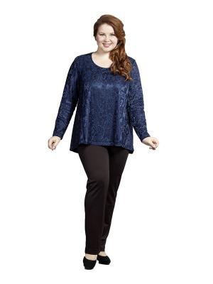 Блузка Queen Size. Цвет: синий