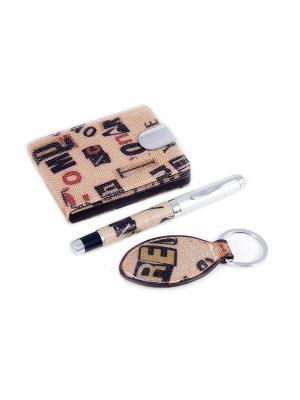 Подарочный набор: визитница, ручка, брелок Русские подарки. Цвет: бежевый, черный