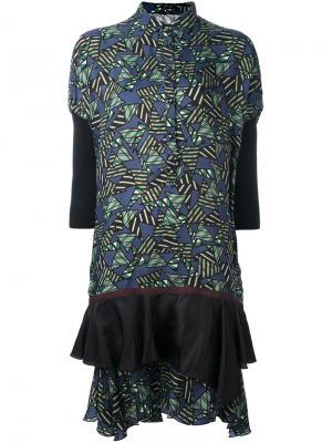 Платье-рубашка с геометрическим принтом Kolor. Цвет: зелёный